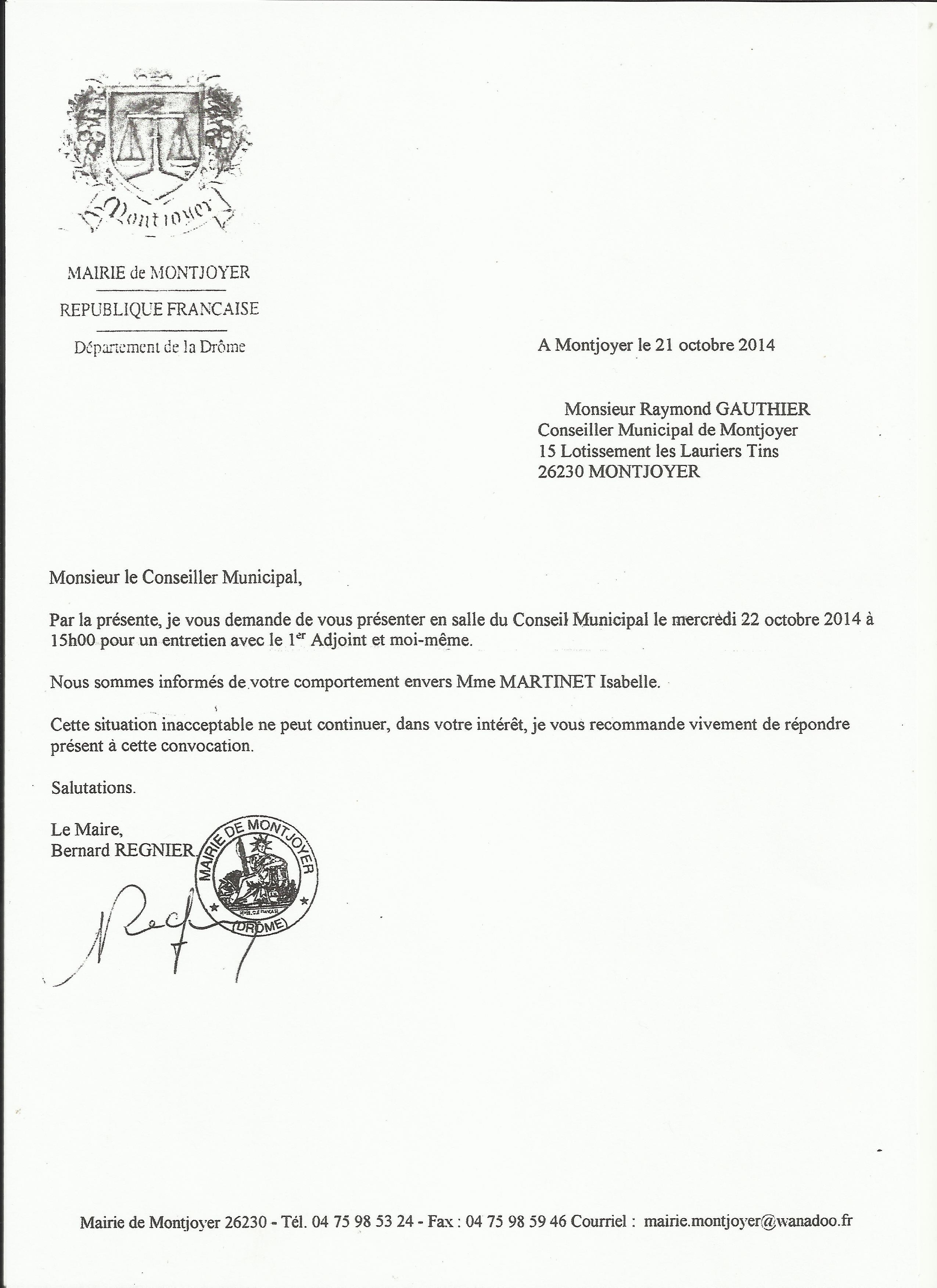 modele lettre demission conseil municipal